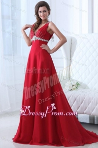 Empire V-neck Brush Train Beading Chiffon 2014 Spring Red Prom Dress