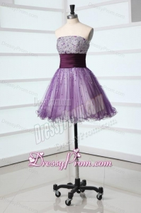 Lovely A-line Strapless Purple Mini-length Beading Tulle Prom Dress