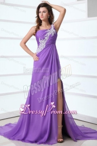 Purple Empire One Shoulder Brush Train Chiffon Appliques 2014 Prom Dress