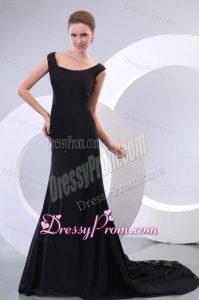 Scoop Black Chiffon and Lace Court Train Prom Dress for Evening Party