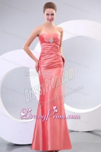 Watermelon Column Strapless Floor-length Taffeta Ruching Prom Dress with Lace Up