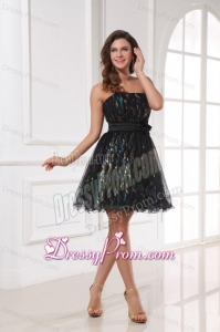 A-line Sequins Strapless Belt Black Knee-length Prom Dress