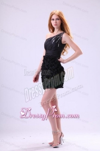 Black Column One Shoulder Sequined Prom Dress with Ruffles