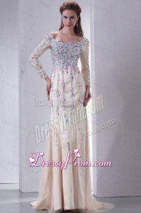 Champagne Off The Shoulder Column Beading Prom Dress with Long Sleeves