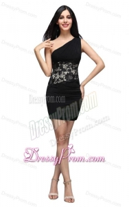 Column Black One Shoulder Appliques Ruching Chiffon Prom Dress