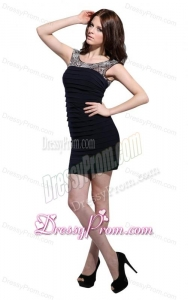 Column Scoop Black Ruching Mini-length Prom Dress