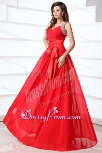 Elegant Column V-neck Red Brush Train Chiffon Prom Dress with Beading