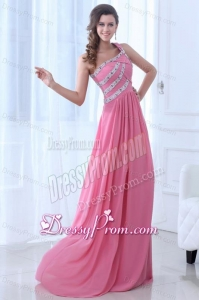 Empire One Shoulder Rose Pink Ruching Beading Chiffon Prom Dress