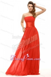 Empire Orange Red Strapless Ruching Floor-length Prom Dress