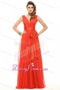 Empire Organe Red V-neck Ruching Chiffon Prom Dress
