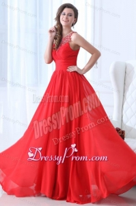Empire Scoop Wine Red Ruching Beading Chiffon Prom Dress