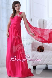 Empire Straps Hot Pink Beading and Ruching Chiffon Prom Dress