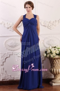 Empire Wide Straps Chiffon Ruche Decorate Prom Dress in Royal Blue