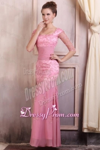 Rose Pink Square Appliques Column Chiffon Half Sleeves Prom Dress