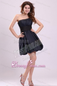 Simple A-line One Shoulder Navy Blue Mini-length Prom Dress with Beading