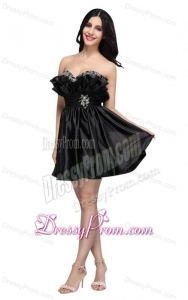 Sweetheart Mini-length Beaded Decorate Black Prom Dress for 2014