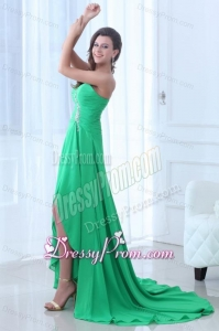 Turquoise Sweetheart Beading Ruching High-low Prom Dress
