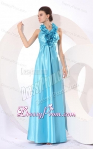 Empire Halter Baby Blue Floor-length Taffeta Hand Made Flowers Popular 2014 Prom Dress