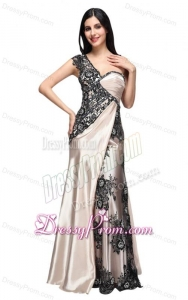 Column One Shoulder Lace Champgne Ruching Long Prom Dress