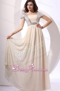 Empire Chiffon Scoop Champagne Long Prom Dress with Short Sleeves
