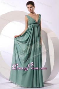 Empire V-neck Floor-length Light Blue Ruching Chiffon Prom Dress