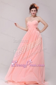 Sweetheart Ruche Chiffon Empire Peach Prom Dress with Brush Train