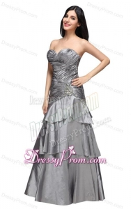 A-line Gray Sweetheart Appliques and Ruching Ruffled Layers Prom Dress