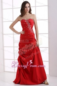 A-line Wine Red Sweetheart Beading and Pick-ups Ruching Prom Dress