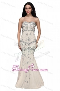 Beaed and Sequined Sweetheart Mermaid Prom Dress with Brush Train