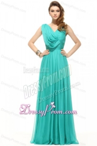 Empire V-neck Turquiose Chiffon Ruching 2014 Prom Dress