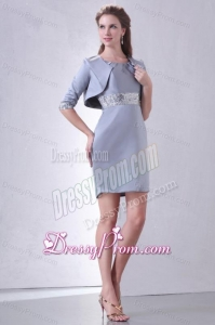 Grey Column Scoop Mini-length Short Prom Dress with Beading