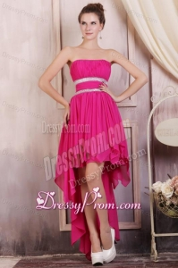 Hot Pink High-low Prom Dress with Beading and Ruching