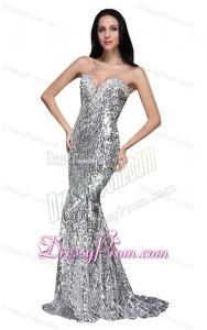 Mermaid Silver Sequins Sweetheart Beading Brush Train Prom Dress