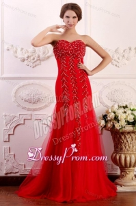 Red Column Sweetheart Brush Train Prom Dress with Beading