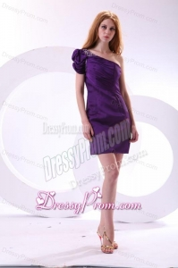 Cheap Column One Shoulder Purple Mini-length Beading Taffeta Prom Dress with Side Zipper