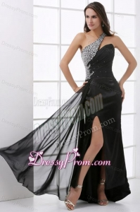 Column Black One Shoulder Beading and High Silt Prom Dress