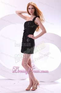 Column One Shoulder Hand Made Flowers Mini-length Black Prom Dress