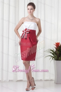 Column Strapless Red and White Mini-length Ruching Prom Dress