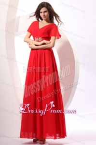 Empire V-neck Floor-length Chiffon Beading Short Sleeves Red Prom Dress