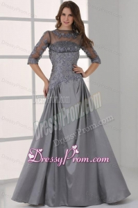 Grey A-line Scoop Half Sleeves Prom Dress with Appliques and Beading