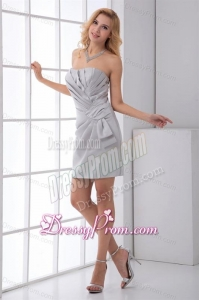 Grey Column Sweetheart Mini-length Ruching Prom Dress