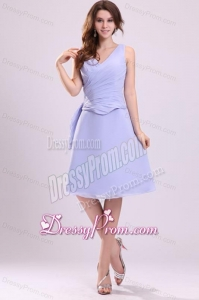 Lavender Chiffon Prom Dress with A-line V-neck Knee-length
