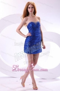Royal Blue Column Sweetheart Beaded Mini-length Prom Dress