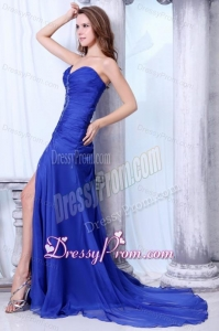 Sweetheart Column Beading and High Silt Chiffon Blue Prom Dress