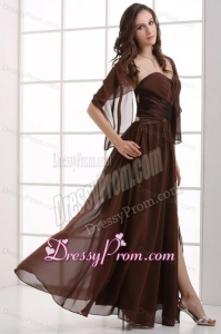 Sweetheart Empire Chiffon Ruche Decorate Prom Dress with Silt