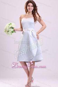 White Sweetheart A-line Knee-length Bridesmaid Dress with Sash