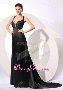 Column Straps Black Elastic Woven Satin Criss Cross Prom Dress with Beading