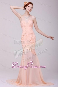 Column Sweetheart Beading and Ruche Peach prom Dress with High Silt