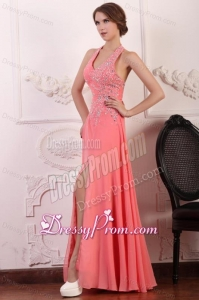 Halter Top Neck Chiffon Empire Beaded Decorate Full Length Prom Dress