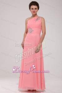 Pink Red One Shoulder Prom Dress with Beading